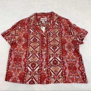 Rachel Zoe Kilim Print linen Button Down Shirt